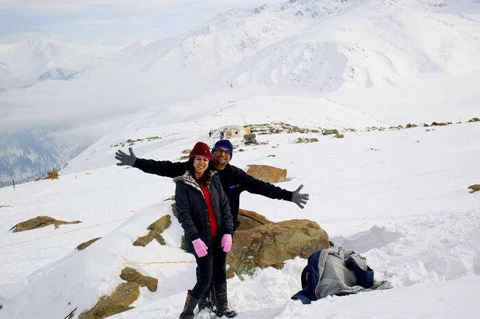 Ankit and his wife at Gulmarg top