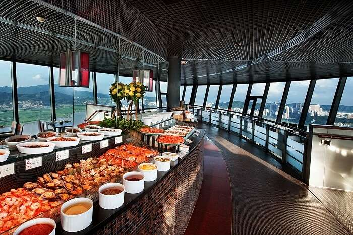 Buffet at 360 Degree cafe in Macau Tower