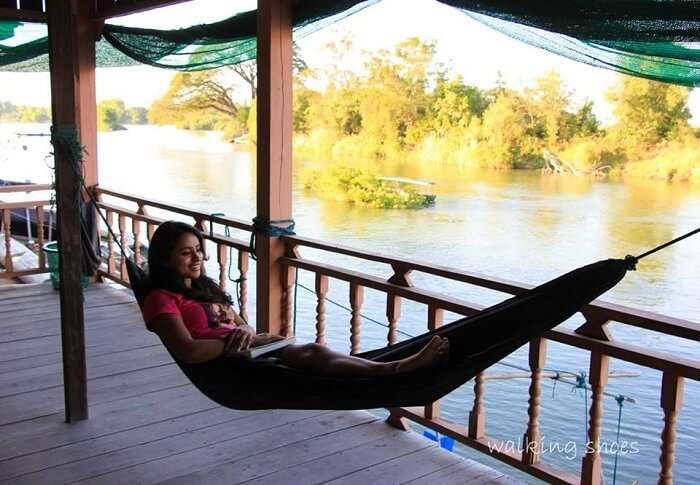 Leena in a hammock in Laos