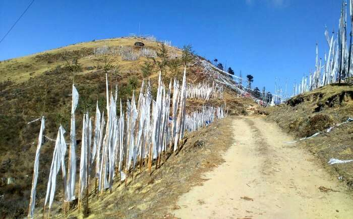 Blue skies and rocky roads in Bhutan