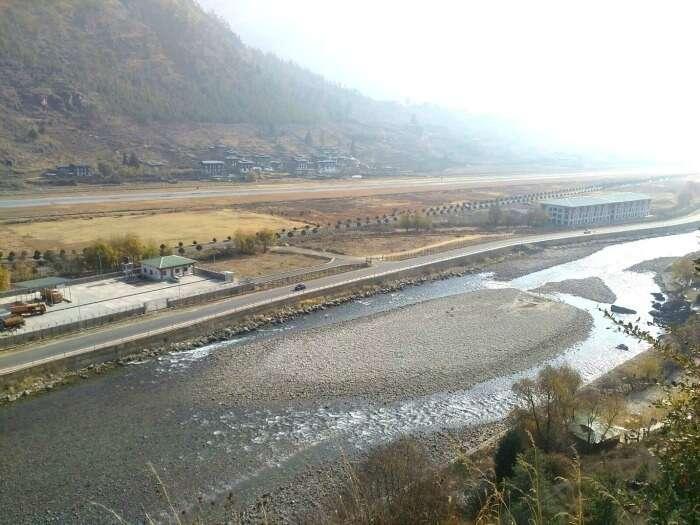 Wet roads and windy weather in Bhutan