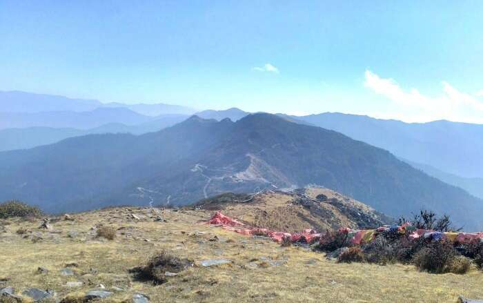 Beautiful silhouettes of mountains from another Bhutanese hilltop
