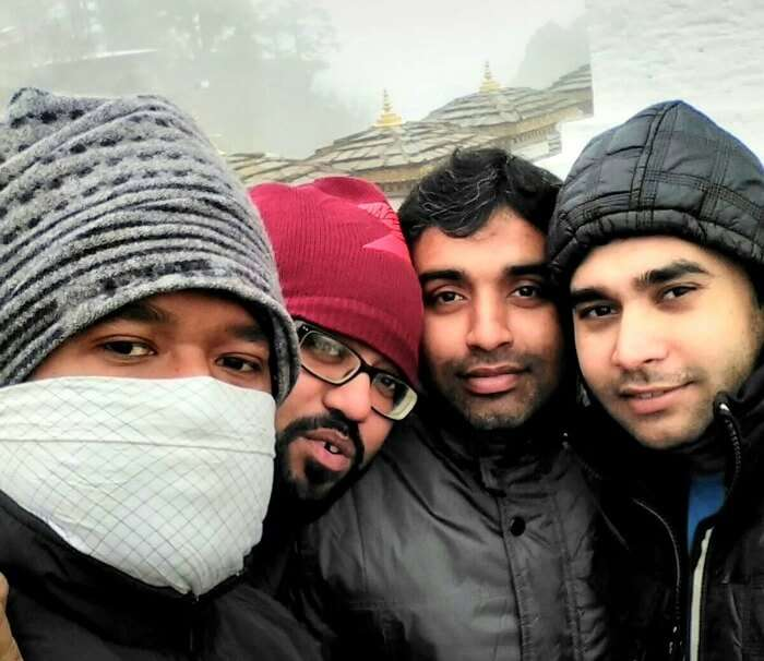 Selfie moment with friends at the beginning of an adventure