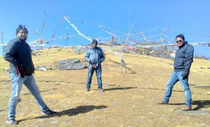 Admiring the blue sky from the hill top in Bhutan