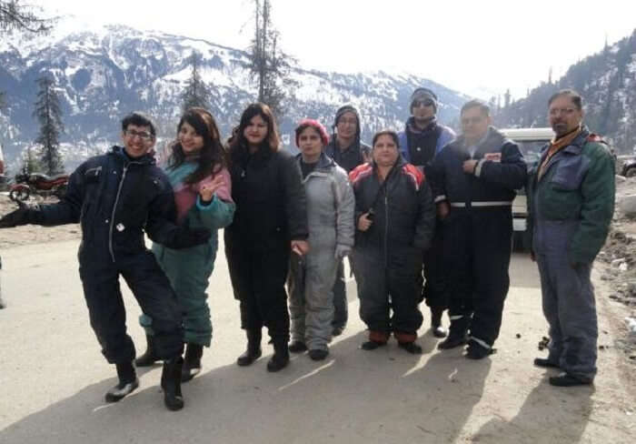 All clad in snowsuits in Manali