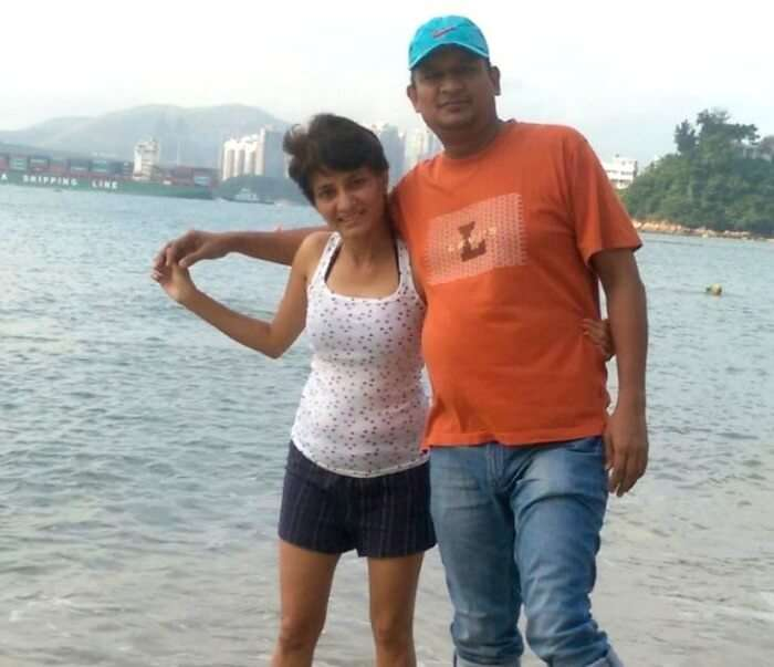 Lovebirds enjoying the clear waters on the gorgeous beach in Macau