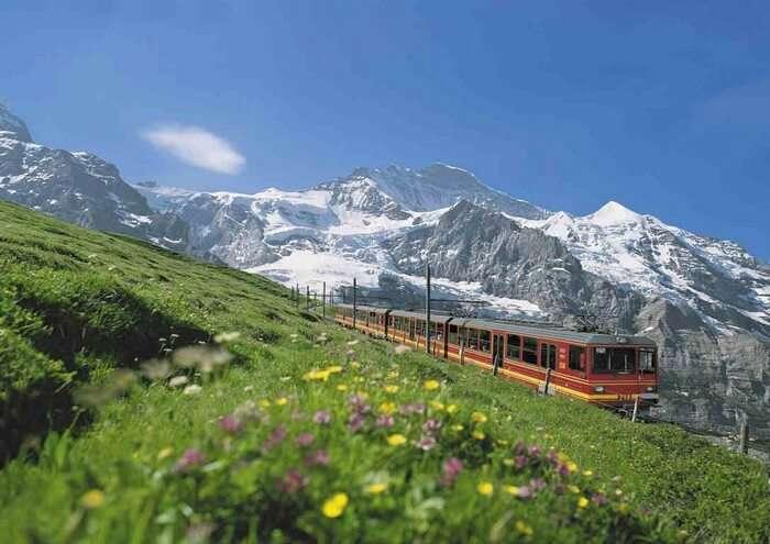 Do not miss the train ride in Interlaken on a trip to Switzerland