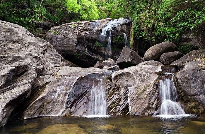 A view of the beautiful Lakkam waterfalls in Munnar