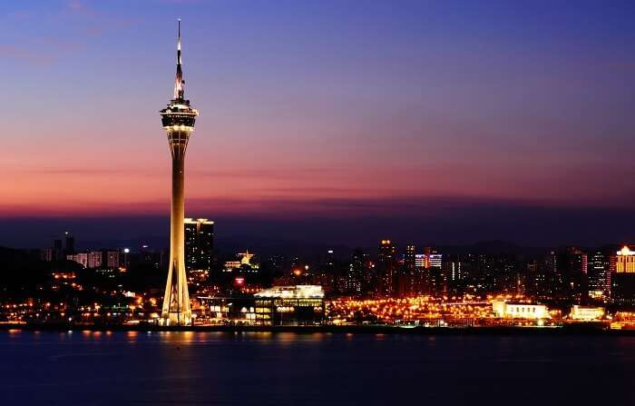 A panoramic evening view of the Macau Tower