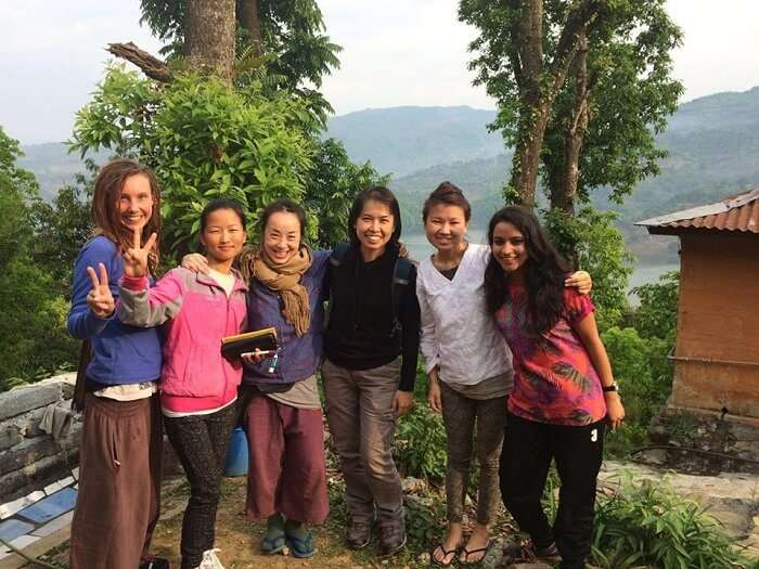 Leena with her friends in Nepal