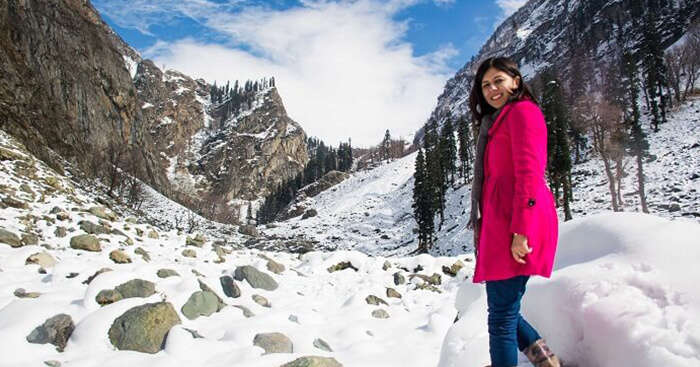 Mrs Gupta on a mini hike at Chandanwaadi in Kashmir