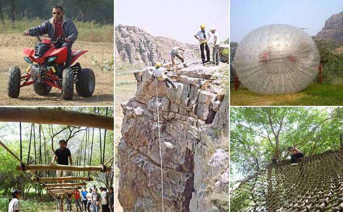 Various adventure activities that take place at the Camp Wild at Dhauj in Faridabad