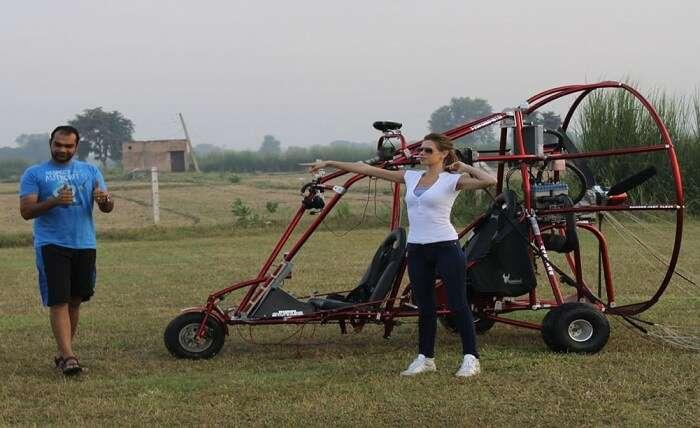Popular Bollywood actress Kalki gets ready to try Flyboy Air Safari near Delhi
