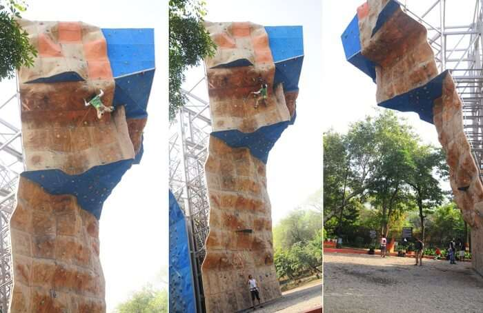 Scenes from artificial rock climbing at IMF in Delhi