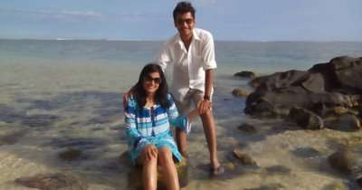 Manuj and his wife on a honeymoon trip to Mauritius