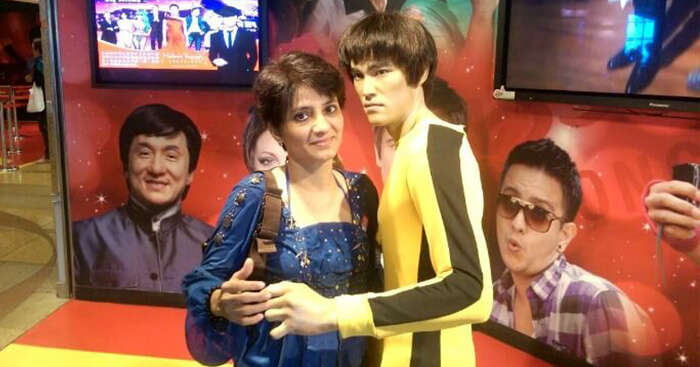 Poonam at Madame Tussauds on her trip to Hong Kong and Macau