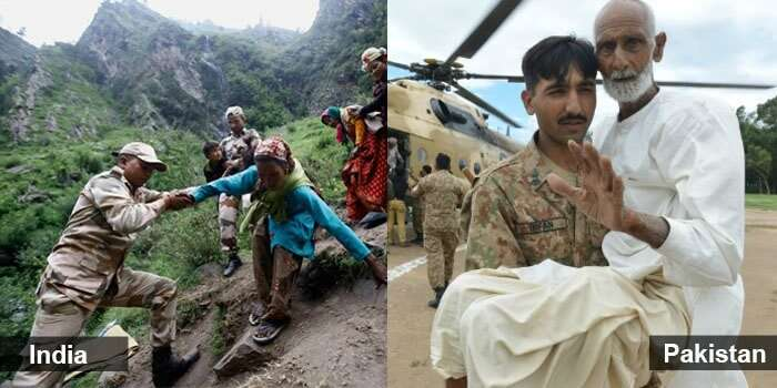 Soldiers and India and Pakistan helping citizens during difficult times