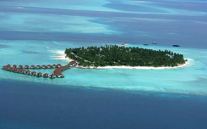 An aerial view of the beautiful Alimatha Island