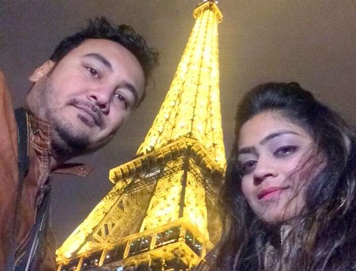 Manvi and her husband in Eiffel Tower