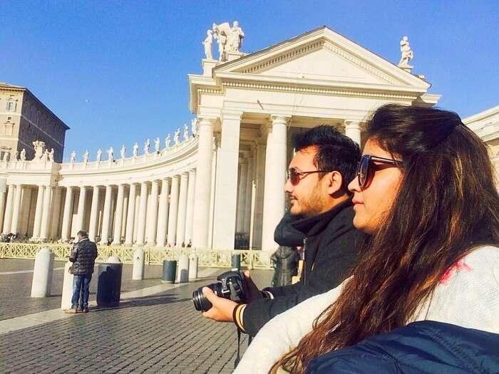 Manvi and her husband in Vatican city