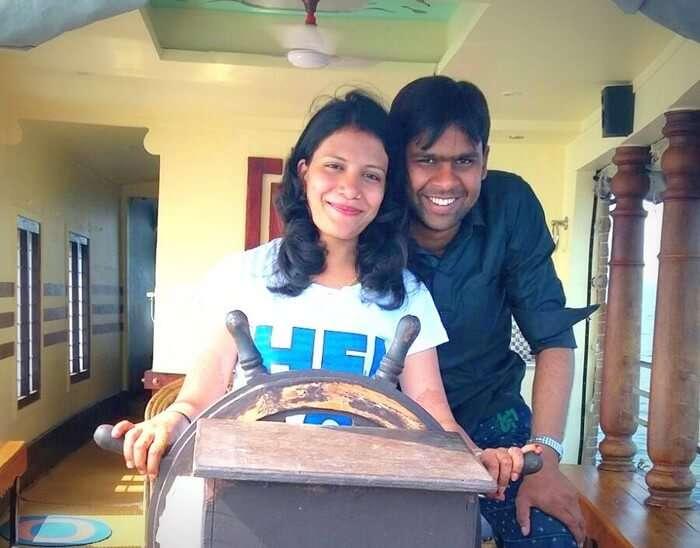 Vishu and Prachi in the houseboat in Kerala