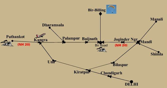 Map detailing the routes to Bir Billing