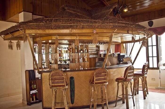 The bamboo bar at Orange Village Resort is popular among the resorts in Gangtok