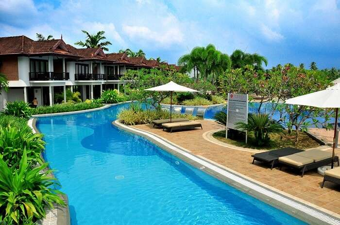 The inlaid lazy river at Ramada Resort in Cochin