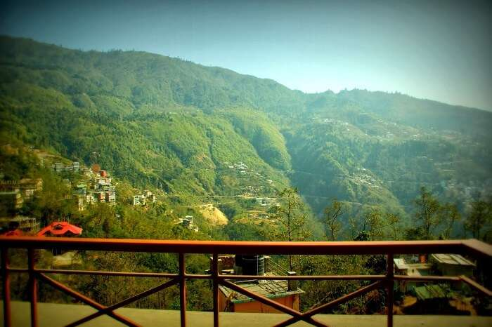 View from the balconies of The Maplewood Resort in Gangtok