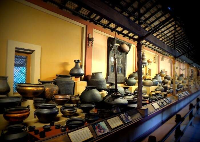 Various utensils of different ages at display in Vechaar Utensils Museum in Ahmedabad