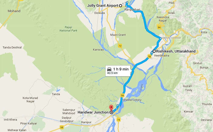 A google map image showing the nearest railway station and airport to Rishikesh