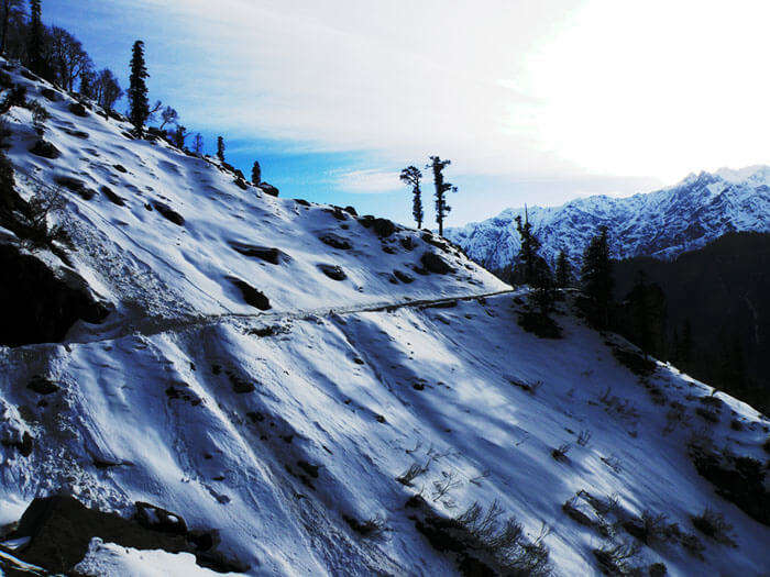 Snow-capped hills surrounding the quaint town of Gulaba