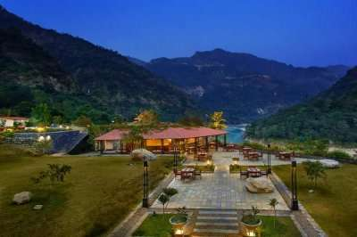 Alfresco dining facility at the beautiful Aloha on the Ganges Resort In Rishikesh