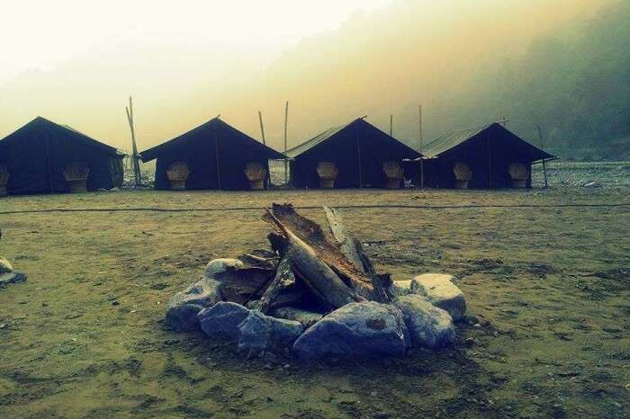 An early morning view of camp at the Ravers Camp in Rishikesh