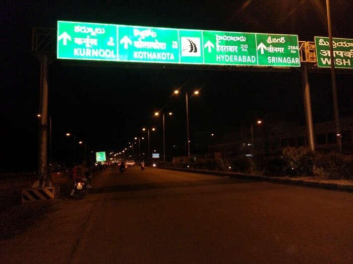 Signboard on highway