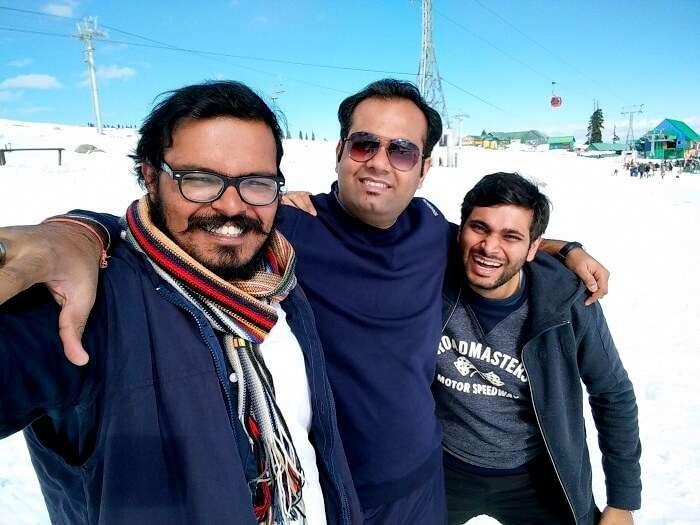 Sundar and his friends in Gulmarg