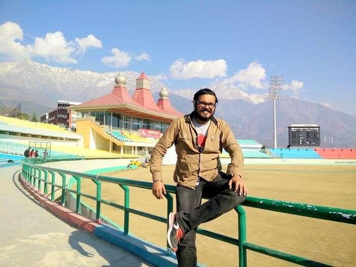 Sundar at the cricket ground in Dharamshala