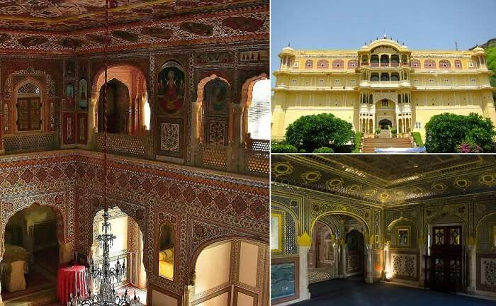Views from interiors and exteriors of the Samode Palace near Jaipur