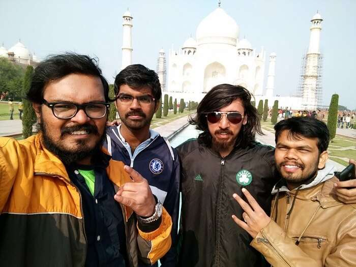 Sundar and his friends at Taj Mahal
