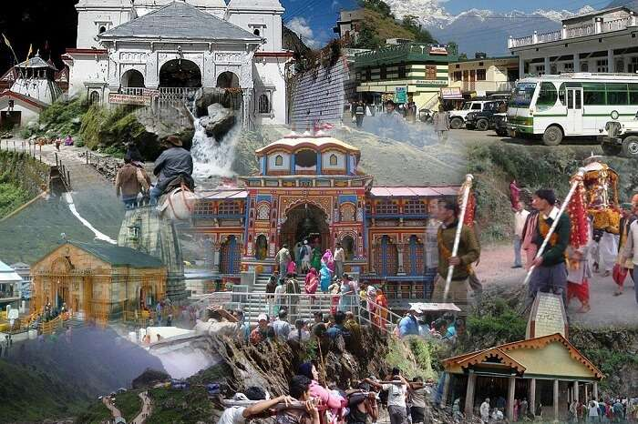 A collage showing the Chhota Char Dham Yatra circuit