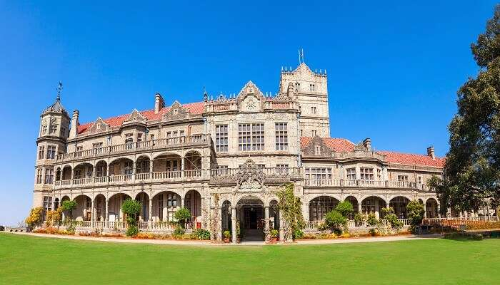 The garden and the main building at the Indian Institute of Advanced Studies in Shimla