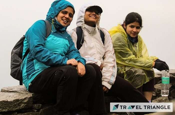Aditi and her friends trek in rain in McLeodganj