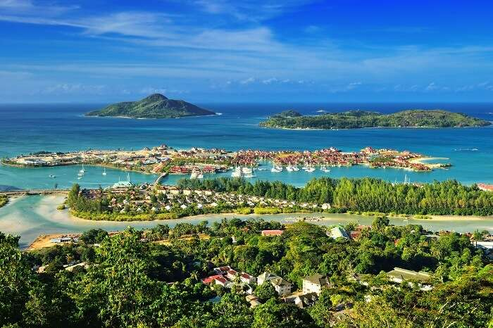 Aerial view on the coastline of the Seychelles Islands and luxury Eden Island from Victoria viewpoint in Mahé