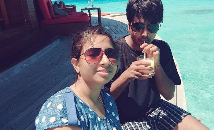 Badri and his wife enjoy in Maldives