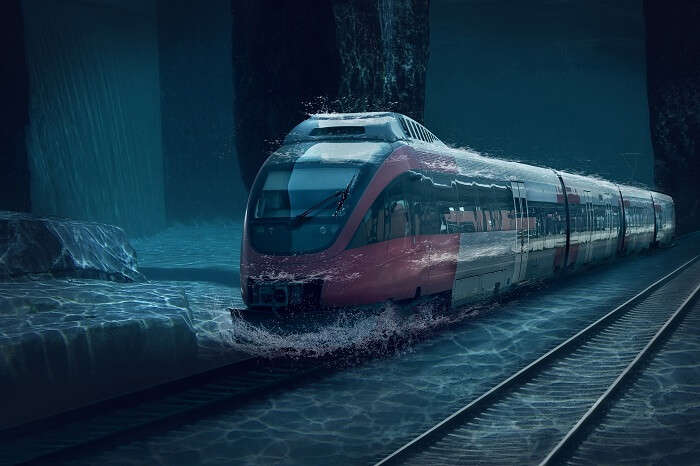 A representative image of the underwater track of the first bullet train in India