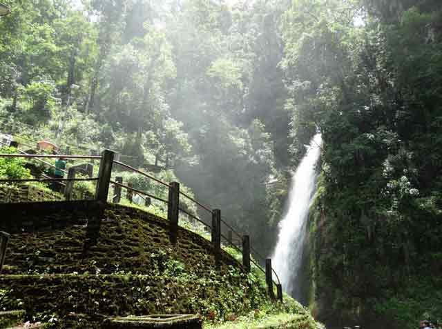 Tourists enjoying the Changey Waterfall