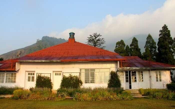 Dusk time as seen at Goomtee Resort one of the best tea estate resorts in Darjeeling