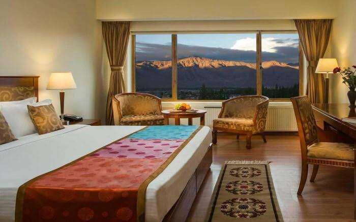 Scenic view of Himalayas from a room of Grand Dragon