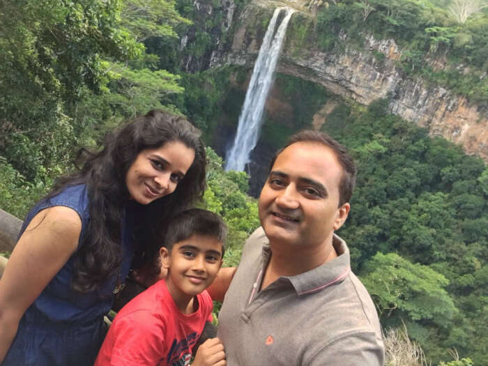 Raj Kumar and his family at the Chamarel Waterfall in Mauritius