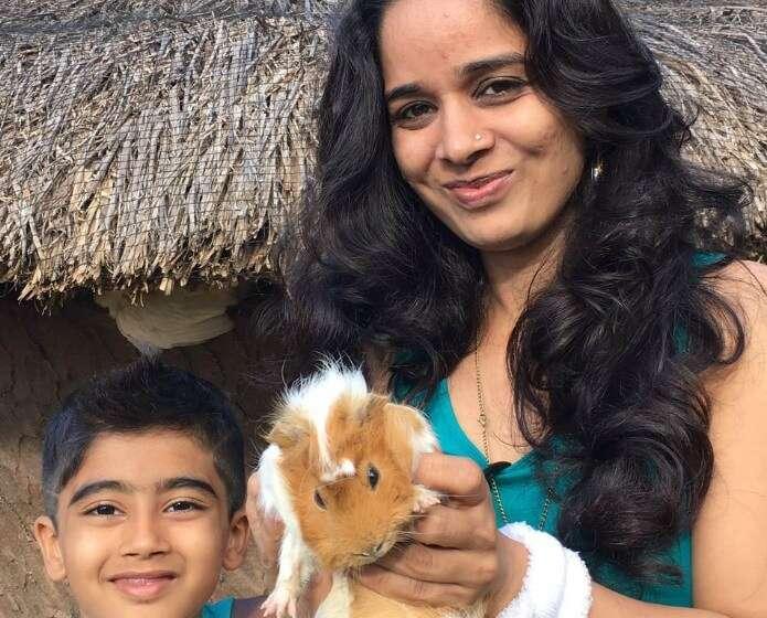 Raj Kumars wife and child at Casela Nature Park